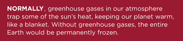 NORMALLY greenhouse gasses in our atmosphere trap some of the sun's heat, keeping our planet warm like a blanket. Without greenhouse gasses the entire Earth would be permanently frozen